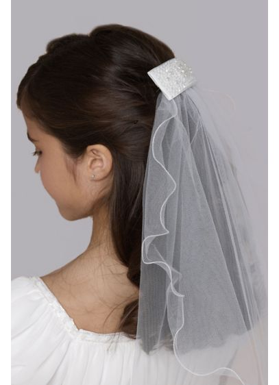 Crystal-Adorned Communion Clip with Veil - Wedding Accessories