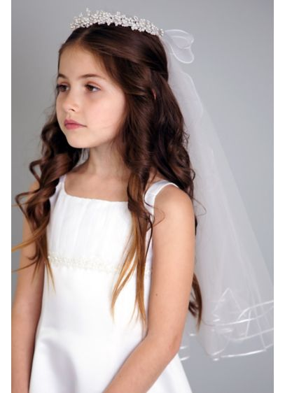 Pearl Wreath Communion Veil - Crafted of pretty pearls and a tulle veil,