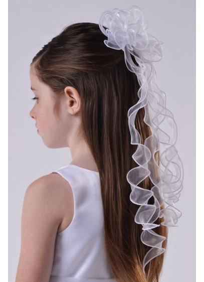 US Angels White (Organza Floret and Twirly Ribbon Comb)