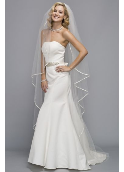 Satin Trimmed Cathedral Veil Wedding Accessories