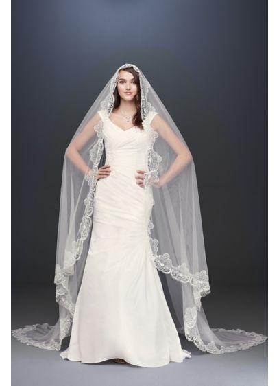 Circular Floral Lace-Edged Mantilla Veil - A modern take on the traditional mantilla veil,