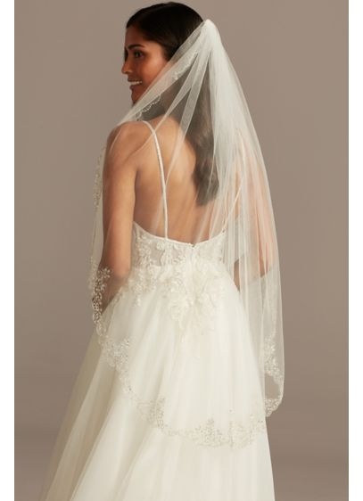 Crystal and Metallic Thread Scalloped Hem Veil - Delicate metallic stitches form beautiful, baroque-patterned scalloped trim