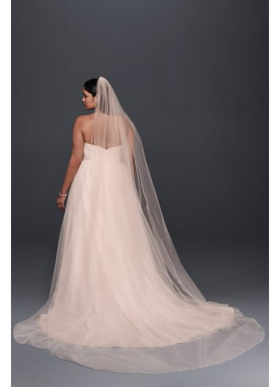Metallic-Edged Whisper Pink Cathedral Veil - Wedding Accessories