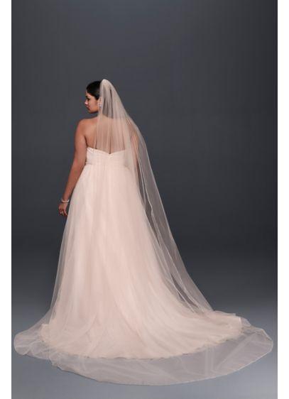 Metallic Edged Whisper Pink Cathedral Veil Wedding Accessories