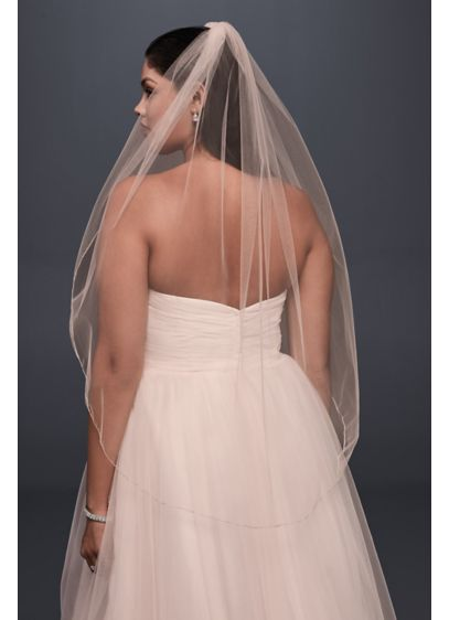 David's Bridal Pink (Metallic-Edged Whisper Pink Elbow Veil)