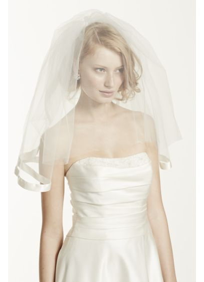Satin Veil with Ribbon Trim and Blusher - Wedding Accessories