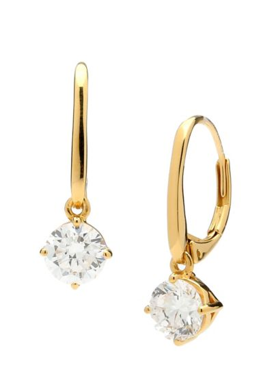 Round Cubic Zirconia Leverback Earrings - Add a hint of sparkle to strapless or