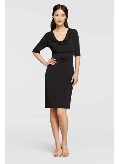 Short Sheath Elbow Sleeves Cocktail and Party Dress - Connected Apparel