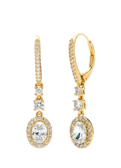 Nadri Grey (Sterling Silver Haloed Cubic Zirconia Earrings)