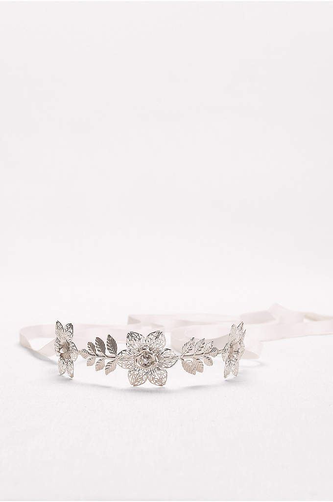 Filigree Flower Headband with Tieback - Delicate filigree petals and leaves, adorned with sparkling