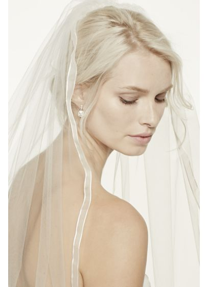 One Tier Mid Veil with Organza Ribbon Edge - Wedding Accessories
