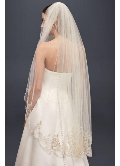 David's Bridal Ivory (Embroidered Filigree Fingertip Veil)