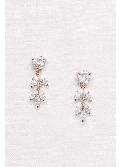 Solitaire and Marquise-Cut Cubic Zirconia Earrings - Wedding Accessories