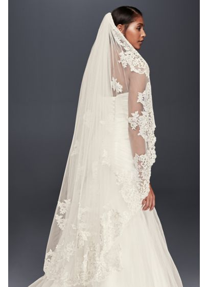Metallic Embroidered Walking Veil with Appliques - Wedding Accessories