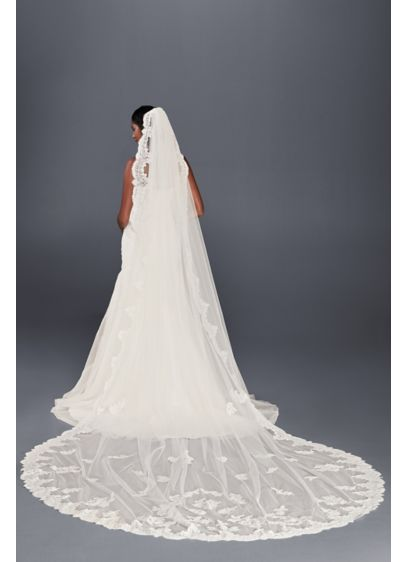 Corded Lace Cathedral Veil with Eyelash Edge - Wedding Accessories
