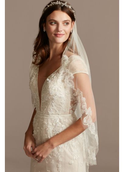 Ivory (Scroll Embroidered Fingertip Veil with Crystals)