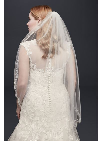 One Tier Mid Veil with Floral Swirl Embellishment - Traditional with a twist in style this floral