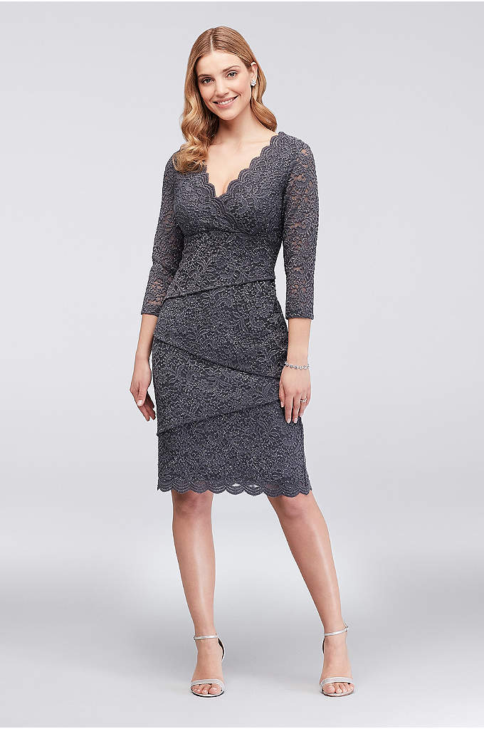 Tiered Glitter Lace Dress with 3/4 Sleeves - Asymmetrical tiers of lace give this short glitter-lace