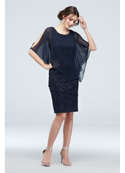 Cold Shoulder Cape and Ruffle Lace Dress - Get the party started in this festive knee-length