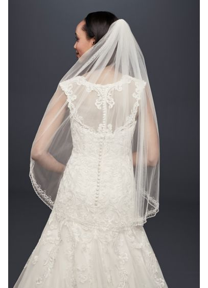 One Tier Mid Veil with Beaded Design - Wedding Accessories