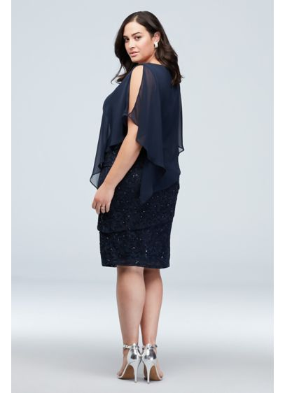 Cold Shoulder Cape and Ruffle Lace Plus Size - Get the party started in this festive knee-length