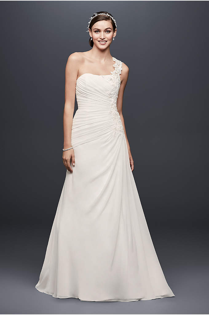 One Shoulder Wedding Dress with Floral Appliques - Lightweight and flowing, this one-shoulder chiffon wedding dress