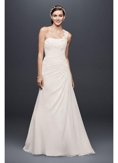 One Shoulder Wedding Dress with Floral Appliques | David\'s Bridal