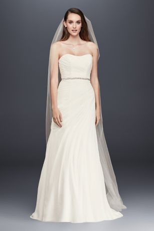 Crinkle Chiffon Wedding Dress with Draping Davids Bridal
