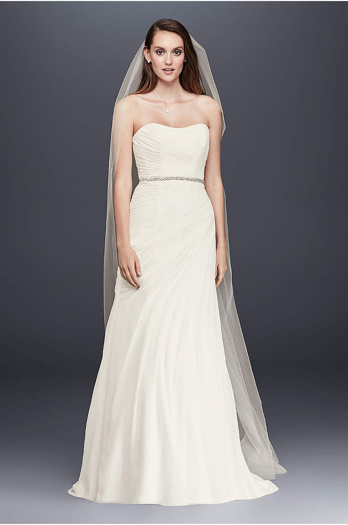 Crinkle Chiffon Wedding Dress with Draping - This simple and elegant crinkle chiffon wedding dress