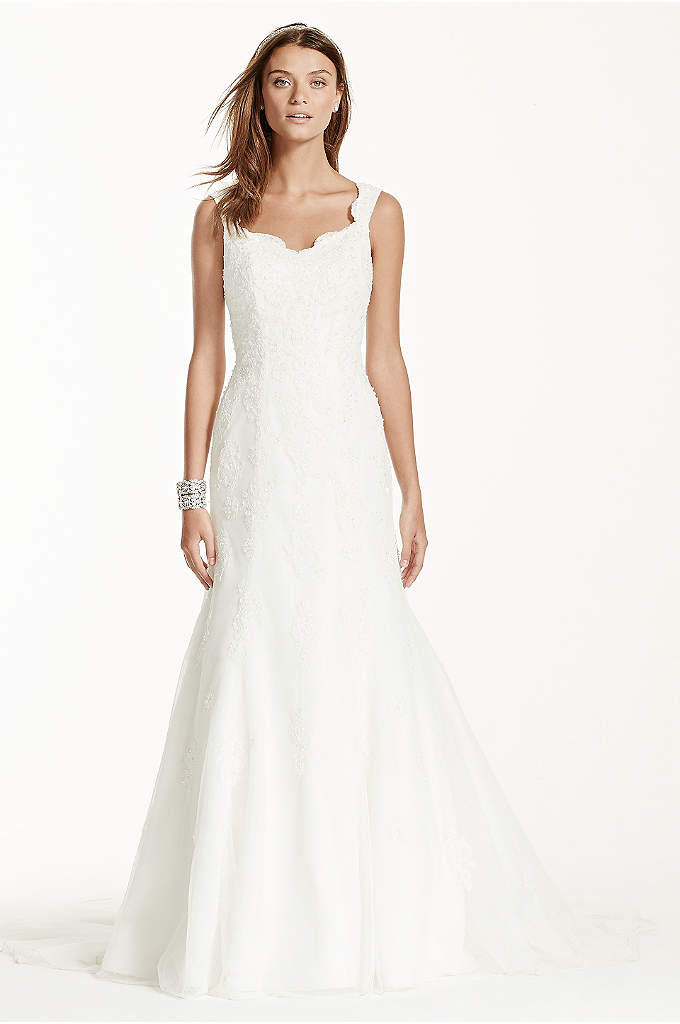 Tank Tulle Trumpet Wedding Dress with Lace Detail