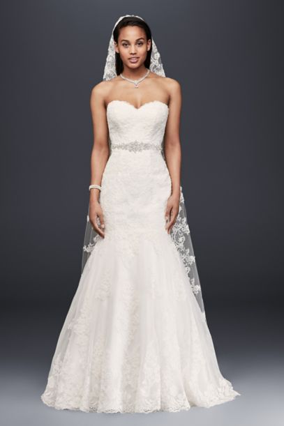 David's Bridal Wedding Dresses On Sale | Sweetheart Trumpet Wedding Dress With Beaded Sash David S Bridal