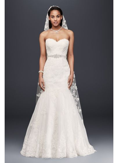 Sweetheart Trumpet Wedding Dress with Beaded Sash | David\'s Bridal