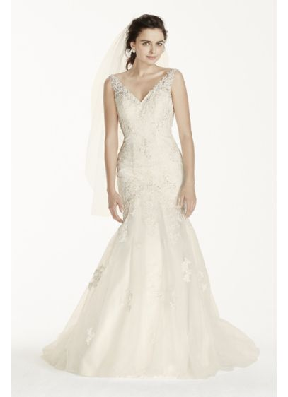 Jewel Tank Mermaid Wedding Dress with Open Back | David\'s Bridal