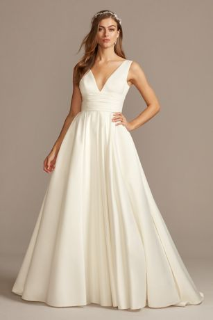 Satin Cummerbund Ball Gown Wedding Dress Davids Bridal