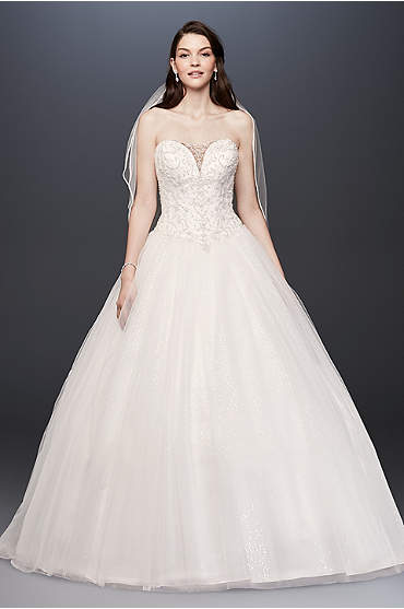 Beaded Illusion Bodice Ball Gown Wedding Dress