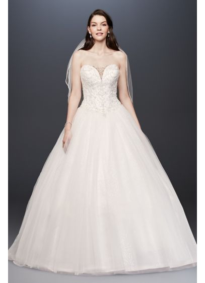 Beaded Illusion Bodice Ball Gown Wedding Dress - If a bit of sparkle on this plunging,