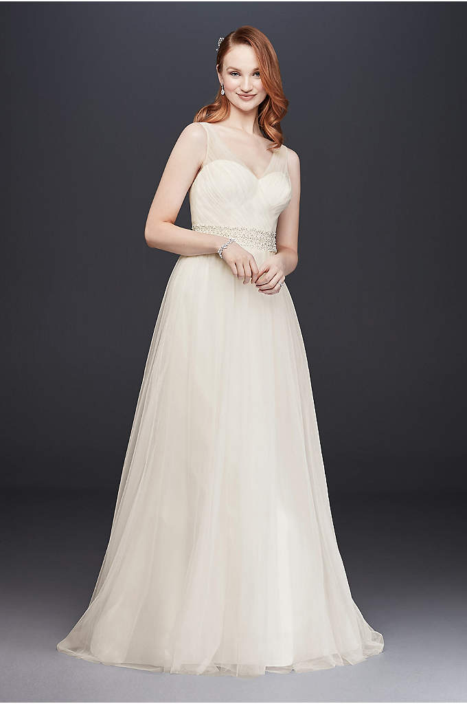 Tulle A-Line Wedding Dress with Beaded Waist - Simple and elegant, this timeless tulle A-line dress