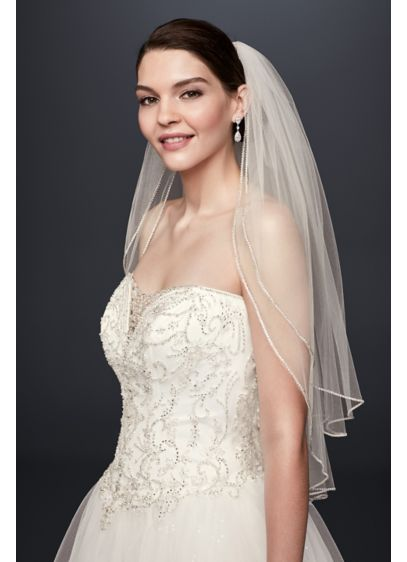 David's Bridal Ivory (Two Tier  Sparkling Rhinestone Edged Mid Veil)