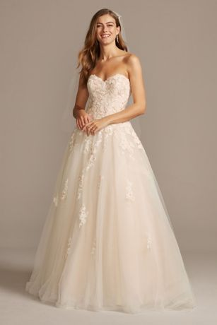 Lace Strapless Beach Wedding Dresses Mermaid Trumpet Bridal Applique Ball Gowns