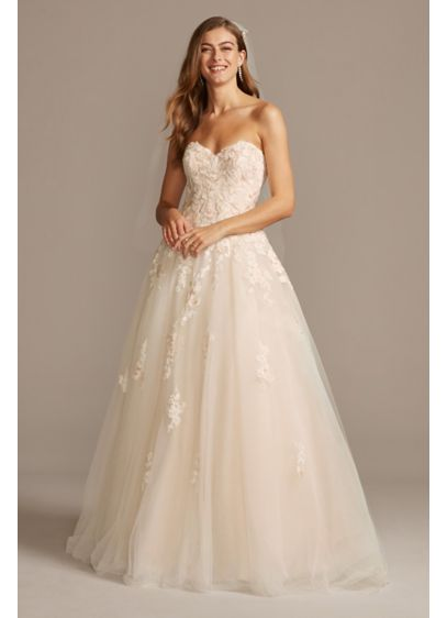 Embroidered Lace Applique Ball Gown Wedding Dress David S Bridal