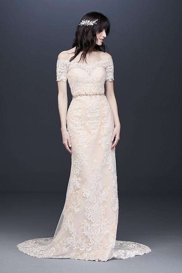 Off the Shoulder Lace Sheath Wedding Dress