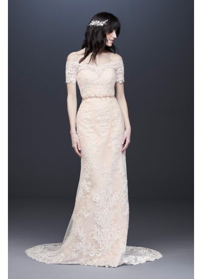 Off the Shoulder Lace Sheath Wedding Dress - Stand boldly and beautifully in this off-the-shoulder sheath
