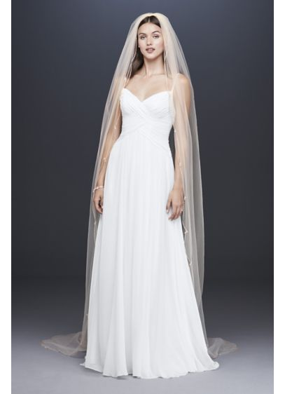 David's Bridal Ivory (Beaded Scallop-Edged Cathedral Veil)