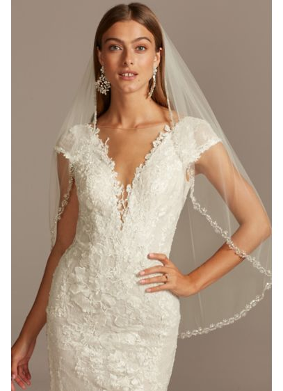 David's Bridal Ivory (Pearl Bead and Crystal Embellished Fingertip Veil)