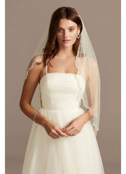 Pearl and Bead Scalloped Edge Tulle Fingertip Veil - Wedding Accessories