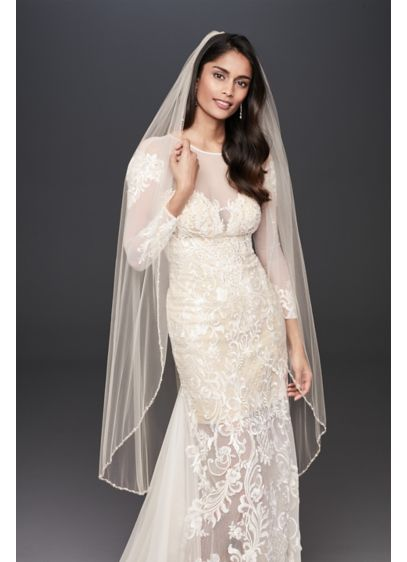 Champagne Walking Veil with Crystal Trim - This beautiful mid-length veil is a soft champagne
