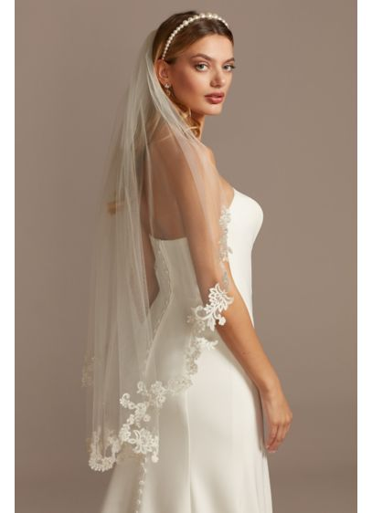Embroidered Floral and Crystal Mid-Length Veil - Wedding Accessories
