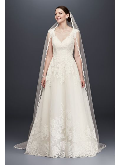 Single Tier Cathedral Veil with Lace Detail - Wedding Accessories