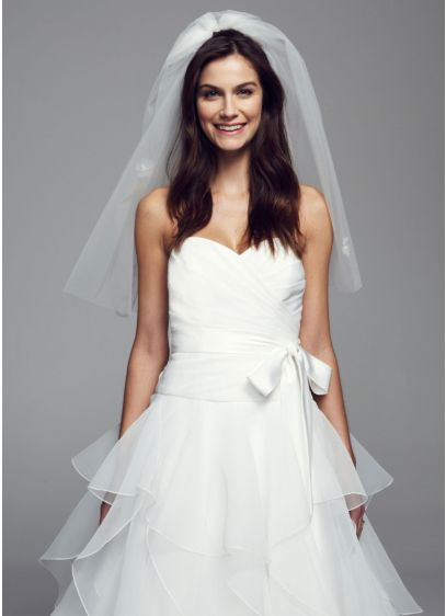 Mid Length Double Layer Veil with Bubble Hem - Wedding Accessories