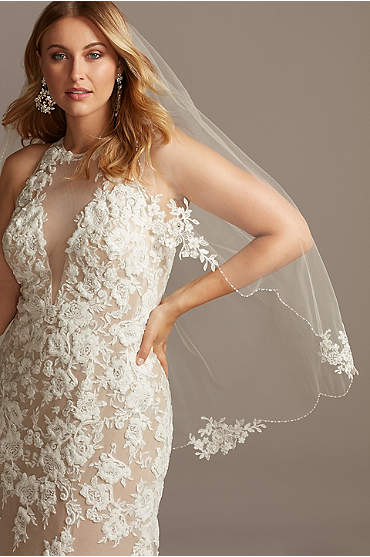 Lace Applique Pearl Scalloped Mid-Length Veil
